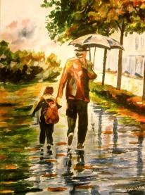 Opa haalt kleinkind van school